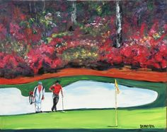 Augusta Masters Golf Course Original Art PAINTING DAN BYL Contemporary 4ft #ContemporaryArt Famous Golf Courses, Public Golf Courses, Golf Attire, Golf Outfit, Initial Art, Coeur D Alene Resort, Augusta Golf, Golf Course Reviews, Masters Golf