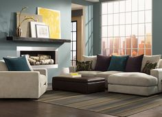 Lombardy Living Room - Low-profile and super comfy, our Lombardy sectional is perfect for conversations or cuddling. To create some pop, add bold colors to a neutral base and find a pattern that ties it all together to add visual interest without overwhelming the room.