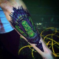 Skull Lantern tattoo by @slootattoos at @madetolasttattoo in Charlotte NC #slootattoos #jeremyhamilton #madetolasttattoo #charlotte #northcarolina #skulltattoo #lanterntattoo #tattoo #tattoos #tattoosnob
