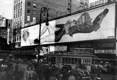 Giant billboard by pin-up artist Alberto Vargas on Broadway, New York City, photo by Peter Stackpole, 1944