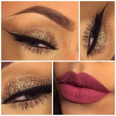 Holiday Glam: gold lid cut crease, winged liner, berry pink lips @glamstardustcari #glitter eyeliner eye makeup