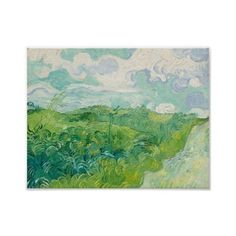 Green Wheat Fields, Auvers 1890 (Vincent van Gogh Poster (625 RUB) ❤ liked on Polyvore featuring home, home decor, wall art, green wall art, vincent van gogh posters, van gogh poster and green home decor