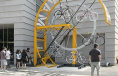 bike hanger project - a bicycle storage facility designed specifically for dense urban areas Urban Furniture, Street Furniture, Cheap Furniture, Furniture Nyc, Furniture Stores, Discount Furniture, Luxury Furniture, Bicycle Storage, Bicycle Rack