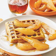 Spiced Waffles with Sauteed Pears | MyRecipes.com [to be made with appreciate, healthy substitutions...including gluten free!]