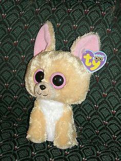 """Ty Beanie  Boos 6"""" NACHO the tan/cream Chihuahua Dog * MWMT * RARE * RETIRED"""