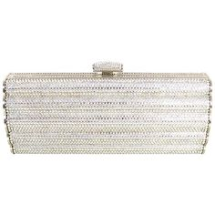 Judith Leiber Pave Crystal Miniaudiere Clutch Bag w/ Shoulder Chain | From a collection of rare vintage clutches at https://www.1stdibs.com/fashion/handbags-purses-bags/clutches/
