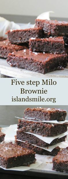 The five step milo brownie ,a mouth-watering, easy, dessert Brownie made using a malt powder we all grew up with, here's yummy Brownie to try and love. Brownie Recipes, Cake Recipes, Dessert Recipes, Dessert Bars, Baking Recipes, Easy Desserts, Delicious Desserts, Yummy Food, Healthy Desserts