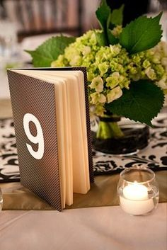 Moleskin notebook table number! Such a creative DIY detail (Photo by Browers Photography)