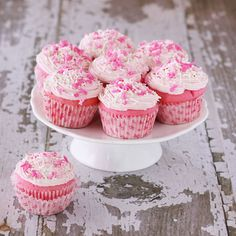 Pink Velvet Cupcakes!!! I made these with a box of pudding mix in them. They turned out delish.