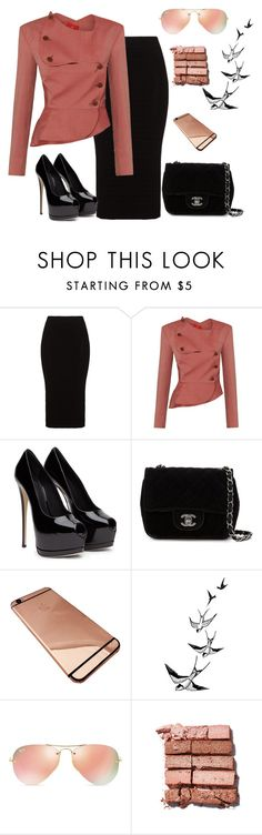 """Work outfit"" by babis117 ❤ liked on Polyvore featuring moda, Mat, Chanel, Ray-Ban, Bobbi Brown Cosmetics, women's clothing, women, female, woman e misses"
