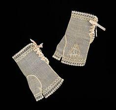 1830-39, fingerlose Handschuhe für den Abend, Baumwolle und Seide, Amerika