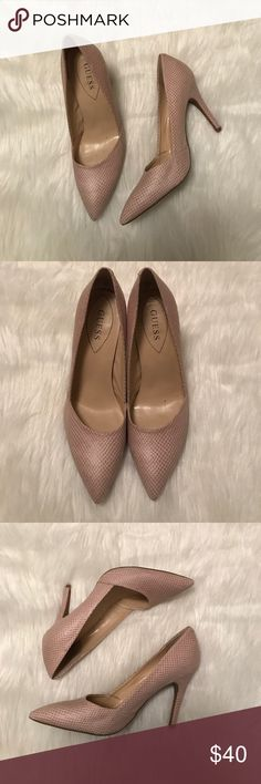 """Guess Heels Excellent condition, almost new Guess heels. Pointed toe and approx. 4"""" heel. Nude colored with white and cream colored fabric Guess Shoes Heels"""