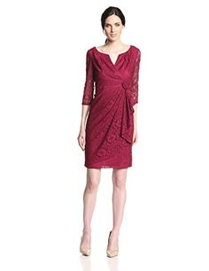 Adrianna Papell Women's 3/4 Sleeve Side Flower Detail Lace Dress, Chianti, 12 Adrianna Papell http://www.amazon.com/dp/B00I941JUE/ref=cm_sw_r_pi_dp_0rNdub0QZ8VQ5