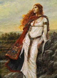by Luis Royo--has a pre-Raphaelite look Scottish Warrior, Celtic Mythology, Celtic Goddess, Greek Mythology, Luis Royo, Pre Raphaelite, Celtic Art, Celtic Fantasy Art, Celtic Dragon