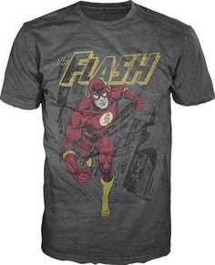 516ecc45 Flash Running T-shirt (Small)Grey: This DC Comics The Flash T-shirt  features a distressed image of Justice League member The Flash on a grey  tee.
