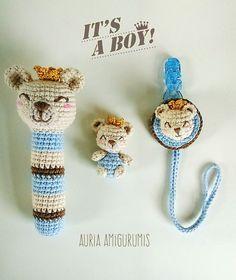 Mini oso, sonajero y chupetero. Nuevo patrón!!   Auria Amigurumis