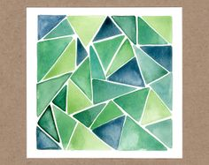 Original Watercolor Painting • Green Triangles • $25
