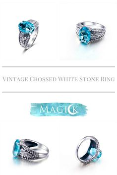 Vintage Double Leaf Aquamarine Ring