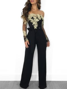 Carregar imagem no visualizador da galeria, Wjustforu Off Shoulder Sexy Lace Jumpsuit Summer Fashion Bandage Wide Leg Jumpsuit Long Sleeve Elegant Bodycon Jumpsuit Female Jumpsuit Elegante, Gold Jumpsuit, Bodycon Jumpsuit, Wrap Jumpsuit, Elegant Jumpsuit, Summer Jumpsuit, Sparkly Jumpsuit, Formal Jumpsuit, Tailored Jumpsuit