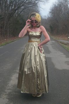 adc5410c11 Vintage Gold Lame Party Dress Prom Gown Sequins by JaneRose 1980s Prom