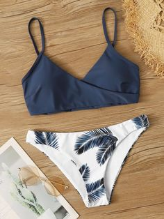Shop Palm Random Print Adjustable Strap Bikini Swimsuit at ROMWE, discover more fashion styles online. Bathing Suits For Teens, Summer Bathing Suits, Swimsuits For Teens, Cute Bathing Suits, Cute Swimsuits, Cute Bikinis, Women's Bikinis, Summer Bikinis, Teen Bikinis