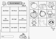 Einfache Lesegitter für DAZ (Herbst und Halloween)