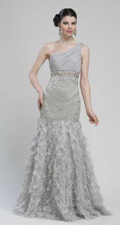 Platinum Embroidered Chiffon & Feather One Shoulder Drop Waist Prom Gown - Unique Vintage - Prom dresses, retro dresses, retro swimsuits.