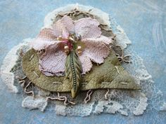 Pale Pink Hearts Hand beaded embellishment by MagicalMysteryTuca
