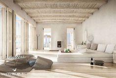 Teto branco em palha e portas Soneva Nisi, Greece Interior Architecture, Interior And Exterior, Living Area, Living Room, Deco Design, Design Design, Design Ideas, Interior Styling, Ibiza Style Interior