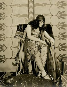 Theda Bara on set of the silent film Salome, 1918