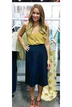 Style icon Lauren Conrad shows us how to wear a classic skirt. Our grandmother's made it known, and Lauren Conrad's much famed Paper Crown collection is keeping it classic. A midi length, perfect pleats and must-wear hue - the Paper Crown Crete Skirt that can be worn dressed up or down. With a sophisticated pump for work or a flat sandal for lunch!