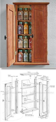 Spice Cabinet Plans - Furniture Plans and Projects | WoodArchivist.com Woodworking Furniture Plans, Easy Wood Projects, Woodworking Projects That Sell, Woodworking Patterns, Woodworking Wood, Furniture Projects, Diy Furniture, Woodworking Classes, Cabinet Plans