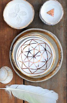 Gold Rimmed Ceramic Bowls | Etsy