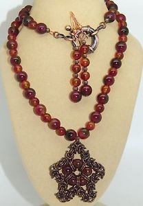 Natural RED Agate Solid Antique Copper Chain Maille Handmade 3 Piece SET | eBay