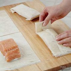Find phyllo dough near the other puff pastries in the freezer section of your local grocery store. Wrap it around salmon for a crispy pastry seafood bundle. /