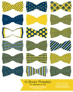 18 YELLOW and NAVY Blue Bowties / PRINTABLE by HuesPrintables, $3.50