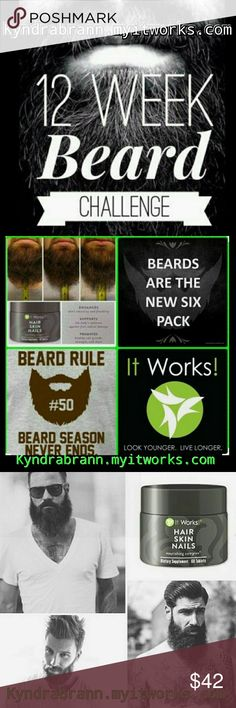 💚ItWorks Hair, Skin And Nails💚 🍁NO Shave November🍁is Approaching, Why Not Start Sooner?!?!☎Calling ALL Men!!💪If You've Been Wanting A Thicker, Longer and Fuller Beard, ⏳Wait No Longer!! 💚Come Talk To ME! I Have 🖑 5 Product Tester SPOTS available For My 90 Day Challenge Which Means You Can Try Our 🖤 Amazing Hair, Skin and Nails At 💰 40% OFF!! Direct Message ME or 👇 Comment Below. 👀Hurry, Because Spots Will Fill Up FAST!!⌛  💚Link is listed Above! I do accept 🅿🅿 Price is Retail…