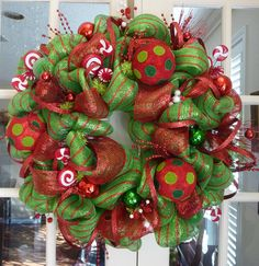 Red and green deco mesh wreath by decoglitz on Etsy!