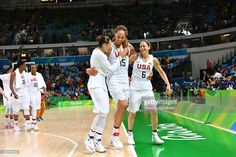 Diana Taurasi #12, Brittany Griner #15 and Sue Bird #6 of USA Basketball Women's…