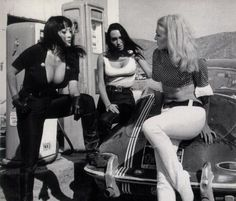 Tura Satana, Haji, and Lori Williams as three strippers in Russ Meyer's Faster, Pussycat! Kill! Kill! (1965)