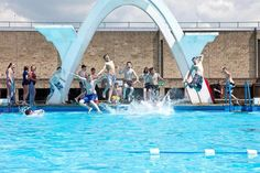 Cooling off at Stratford Park's outdoor pool
