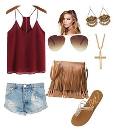 """""""Untitled #35"""" by ssiv on Polyvore featuring Roxy, One Teaspoon, Forever 21, Palm Beach Jewelry and Charlotte Tilbury"""