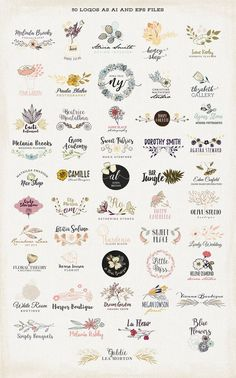 50 Floral Logos by Bloomart on @creativemarket Creative logo design inspiration, perfect for a modern business branding with perfect font and typography selection. Take some ideas or use this feminine, elegant, nature, floral and also hipster set.