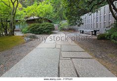 Stone Path to Tea House at Japanese Garden - Stock Image
