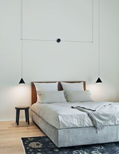 The Set of 2 String Lights Cone Pendant by Michael Anastassiades for Flos resemble infrastructure like telegraph wires or European street lighting, with the thin black electrical cord drawing geometric shapes in the air. The String light allows yo. Modern Pendant Light, Pendant Lighting, Pendant Lamps, Pendant Set, Ceiling Rose, Ceiling Lamps, Bedroom Lighting, Bedroom Decor, My New Room