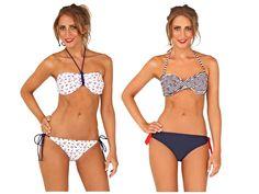 Womens Nautical Bikini Set Swimwear Tie Halterneck / Bandeau Ladies Size UK 8-16[White Nautical Halterneck,12]