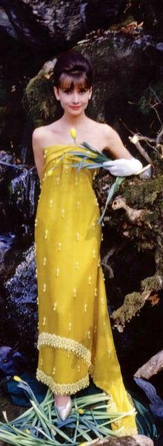 Audrey Hepburn - yellow silk Givenchy. #SilverScreenSerendipity #actor #actress…
