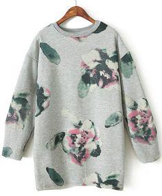 Grey Long Sleeve Ink Floral Loose Sweatshirt US$31.48