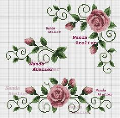 Cross stitch Embroidery Pattern for Tablecloth, Napkin. Format x Only 1 booklets of your choice. Cross Stitch Boarders, Cross Stitch Heart, Cross Stitch Flowers, Cross Stitch Designs, Cross Stitching, Cross Stitch Embroidery, Embroidery Patterns, Cross Stitch Patterns, Bargello