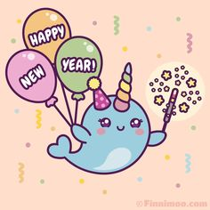 Cute Finnimoo celebrates with colorful balloons, paper streamers and confetti. She enjoys the magical light of a glowing and wishes you a Cartoon Pics, Cartoon Drawings, Cartoon Art, Cute Cartoon, Animal Drawings, Kawaii Narwhal, Cute Narwhal, Happy New Year Wishes, Happy Year